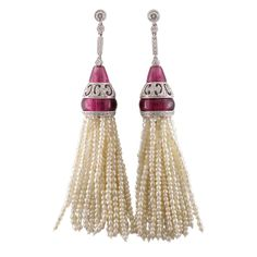 Platinum, Diamond, Pink Tourmaline and Pearl Earrings