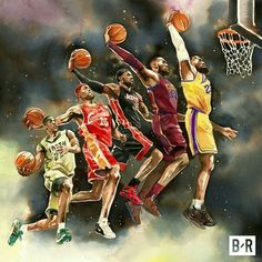 This pin represents the evolution of Lebron James dunking from high school to his current NBA career. I would love for this to represent my after school career as an astronomer or astronaut as in the evolution of my goals and dreams. Nba Basketball, Basketball Posters, Nba Sports, Basketball Legends, Sports Art, Basketball Design, Basketball Quotes, Lebron James Lakers, Lebron James Wallpapers