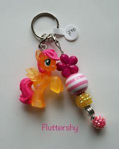 CUTE Fluttershy My Little Pony Keychain/Bag/Backpack Charm, Chunky Beads