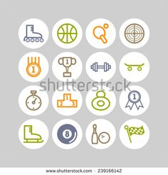 Set of simple sports icons