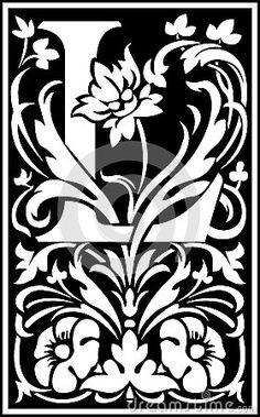 Flowers decorative letter L Balck and White