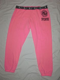 NWT! Victoria's Secret Love PINK Skinny Sweat Pants Hot Pink & Black Choose Size #PINKByVictoriasSecret #SweatPants