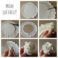 Rosa feita com toalhinha de papel rendado.                                                                                                                                                     Mais