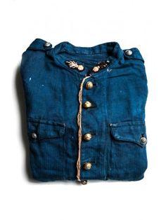 ~ french indigo firemen jacket, 1910's ~