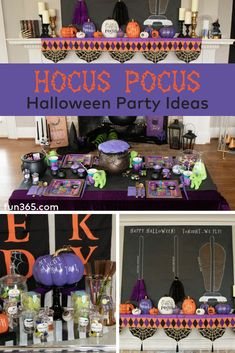 Have a bewitchingly awesome kid friendly Halloween Party! This Hocus Pocus themed party has super cute craft ideas to keep the kids busy and adorable decor you'll want to have up all season! Halloween Office, Halloween Food For Party, Baby Halloween, Hocus Pocus Halloween Decor, Hallowen Party, Halloween Tricks, Halloween Table, Halloween Stuff, Vintage Halloween