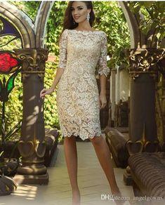 Vintage Knee Length Mother Of The Bride Groom Dresses with Long Sleeve 2019 Crochet Lace Jewel Short Wedding Guest Gown Evening Wedding Guest Dresses, Wedding Gowns With Sleeves, Tea Length Wedding Dress, Long Sleeve Wedding, Cheap Wedding Dress, Evening Dresses, Bride Groom Dress, Bride Dresses, Beach Dresses