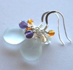 Aqua sea glass earrings with amber, amethyst, faceted citrine and aquamarine gemstone beads