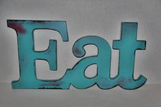 EAT Sign / Kitchen Wall decor / Red / Shabby / Wall Word/House and Living/ Teal / Red / Shabby Chic Decor. via Etsy.