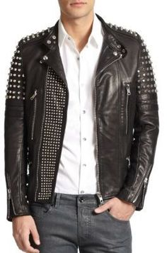 $2,495, Diesel Black Gold Studded Leather Biker Jacket. Sold by Saks Fifth Avenue. Click for more info: https://lookastic.com/men/shop_items/179912/redirect