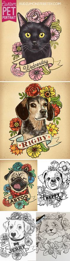 Custom dog and cat pet portraits from kudzumonster.etsy.com available in full color or as line drawing.  Come with 8x10 inch print.  Great for tattoo design. Pug tattoo art , beagle tattoo design, cat tattoo design, dog tattoo, cat tattoo