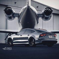 Audi and a private jet Lamborghini, Ferrari, Allroad Audi, Audi A7, Rs7 Sportback, Dream Cars, Aston Martin, Jet Privé, Mercedez Benz