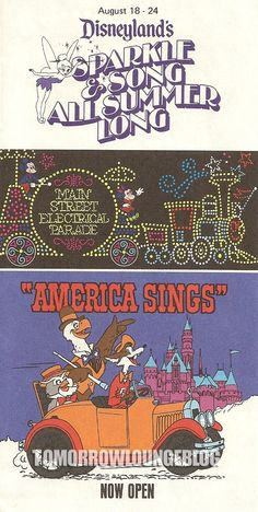 I miss America Sings AND the Electrical Parade...and this brochure is from my birthday week!