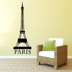 Eiffel Tower Wall Decal Vinyl Sticker Decals Art Home Decor Mural Eiffel Tower Paris Travel France Fashion Bedroom Dorm Living Room