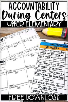 Check out this post for strategies to help you hold students more accountable during center time to make them work in your classroom. Recording sheets included to use with task cards or U-Know… More