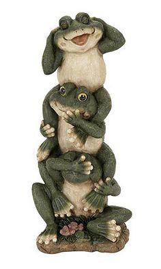 hear no evil see no evil speak no evil garden   ... Totem Statue Showing Hear No Evil, See No Evil, Speak No Evil Frogs