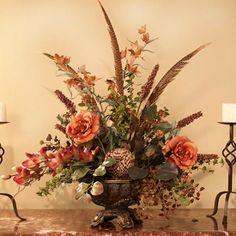 silk floral christmas arrangements | Rose & Feathers Silk Floral Arrangement| Silky Flower Store