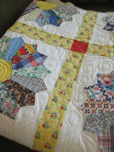 Grandma's vintage quilt tops made into a new quilt