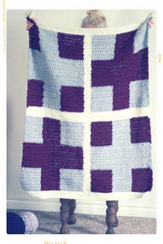Cross | Chunky Wool Crochet Afghan by Fleur + Dot in Plum, Grey, White