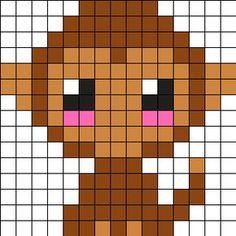 Baby Monkey Perler Bead Pattern / Bead Sprite - Sprite - Ideas of Sprite Perler Bead Designs, Easy Perler Bead Patterns, Melty Bead Patterns, Hama Beads Design, Kandi Patterns, Diy Perler Beads, Perler Bead Art, Beading Patterns, Cross Stitch Patterns