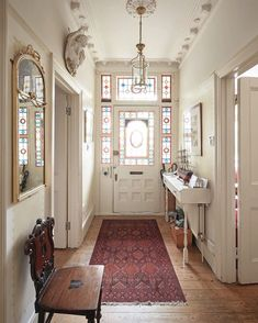 Likes, 4 Comments - Elegant Hallway Ideas Entrance Narrow, Entryway, Modern Hallway, Dyi, Victorian Townhouse, Style Cool, Best Decor, Modern Victorian, Decoration Table