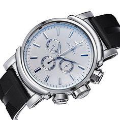 UE Fashion & # 8482; hombre Simple Cristal mineral esfera blanca, el lujo reloj mecánico relojes de pulsera.: Amazon.es: Relojes
