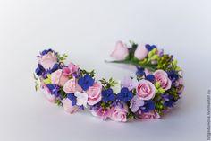 Купить Веночек для невесты - бледно-розовый, сиреневый, синий, белый, яркий зеленый, ярко-розовый