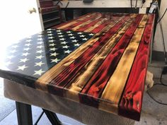 Rustic Wooden Color American Flag Wall Decor, Charred American Flag, Classic American Flag, Wall Art This Traditional Rustic American Flag is made on a Wood Projects, Woodworking Projects, Woodworking Plans, Woodworking Chisels, Woodworking Classes, American Flag Wall Art, American Art, Metal American Flag, American Flag Crafts