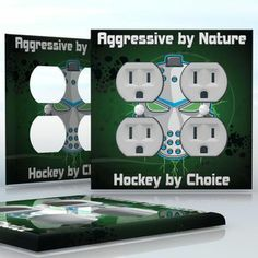 DIY Do It Yourself Home Decor - Easy to apply wall plate wraps | Aggressive by Nature - Hockey by Choice  Nuclear hockey mask  wallplate skin sticker for 2 Gang Wall Socket Duplex Receptacle | On SALE now only $4.95
