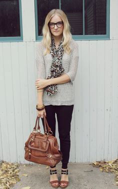 Neutrals with leopard scarf.