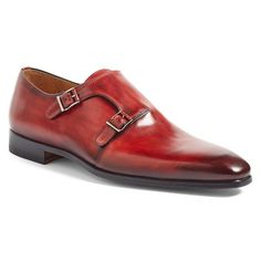 Men's Magnanni Jamin Double Monk Strap Shoe ($435) ❤ liked on Polyvore featuring men's fashion, men's shoes, men's dress shoes, red leather, mens leather dress shoes, mens red shoes, mens double monk strap shoes, mens dress shoes and mens shoes