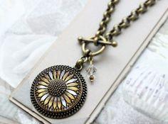 Sunfower Necklace Toggle Czech Art Glass Pendant by veryDonna