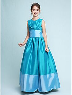 ee3181e764   79.99  A-Line   Princess Jewel Neck Floor Length Taffeta Junior  Bridesmaid Dress with Draping   Sash   Ribbon by LAN TING BRIDE®   Spring    Fall   Winter ...