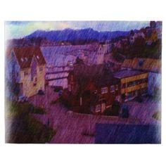 A photo drawing made out of a photo of a small part of down town Leirvik. You can see different houses with a small part of the harbor and a mountain in the background. Draw On Photos, Making Out, Jigsaw Puzzles, Mountain, Ocean, Houses, Drawings, Painting, Art
