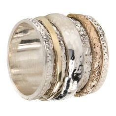 Gold and Sterling Silver. Band Measures: Handmade in Israel. Cheap Silver Rings, Gold And Silver Rings, Rose Gold Jewelry, Silver Bands, Silver Jewellery, Spinner Rings, Jewelery, Jewelry Rings, Ring Bracelet