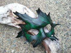green Leather oak Leaf Mask by SkinzNhydez on Etsy, $50.00