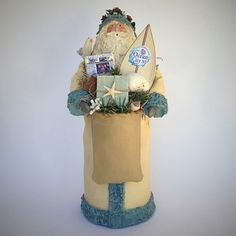 Folk Art Santa Claus Figurine Paper Mache Mixed Media Sculpture Ocean City New Jersey Cream Collectable Beach Personalized Figure 201630 by SantasfrommyHeart on Etsy