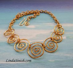 Bronze Spiral Necklace item NJB by LindaSinish on Etsy, $59.00