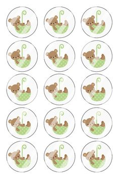 """Teddy Bear Bottle Cap 1"""" Circle Images Sheet #B5 (instant download or pre cut)"""