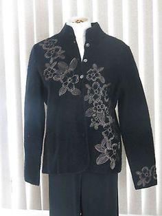 Carole Little sweater M boiled wool cardigan jacket travel blazer Black