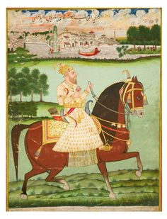 A LARGE PORTRAIT OF JA'FAR KHAN, INDIA, DECCAN, HYDERABAD, CIRCA 1775-1810.  Gouache heightened with gold on paper, depicting Ja'far Khan on horseback holding a sprig of flowers, a river and townscape in the background, inscribed above in black nasta'liq script, laid down on stout paper and ruled in red, white, yellow and blue
