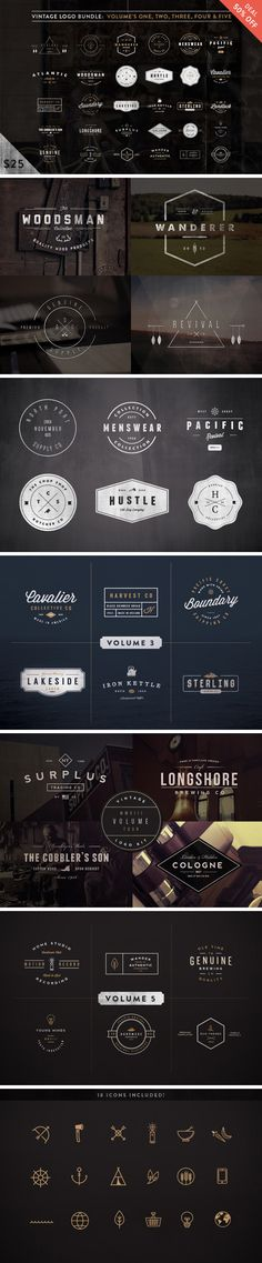 A unique collection of 30 vintage logos made in Adobe Illustrator with editable…
