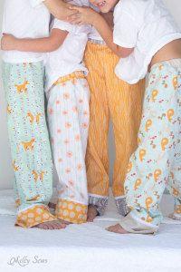 Pajama pant tutorial...with adorable coordinating drawstring bag tutorial.