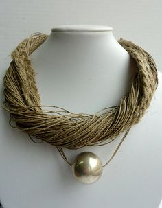 Jewerly Beige Linen Necklace with Large Silver Round by Cynamonn, $40.00