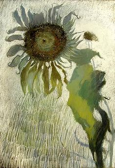 ymutate:  JIMMY WRIGHT, Sunflower in Grey and Green no.1, 2008 Pastel on paper 29 x 20 1/2 inches, found  at    # Pin++ for Pinterest #