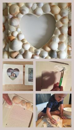 How to make a picture frame from seashells Collecting seashells on the beach with my kids is one of my favorite things in the world. They get so excited when they go on their treasure hunt equipp Fun Arts And Crafts, Fun Diy Crafts, Arts And Crafts Projects, Creative Crafts, Clay Crafts, Wood Crafts, Crafts For Kids, Diy Projects, Paper Crafts
