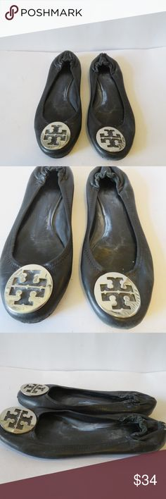 Authentic tory burch black leather flats 8