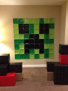 Minecraft Wall Decorations 4'x4' steve face as wall decoration for minecraft-themed scout