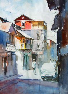 artist Vilas Kulkarni (b1967, Karnataka, India) | watercolor