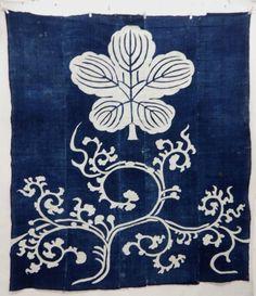 18960 Japanese Vintage Tsutsugaki Cloth Arabesque and Kashiwa Pattern