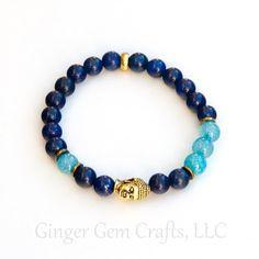 healing bracelet Lapis bracelet agate by GingerGemCraftsLLC